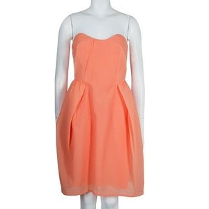 CARVEN strapless sweetheart dress 6 orange